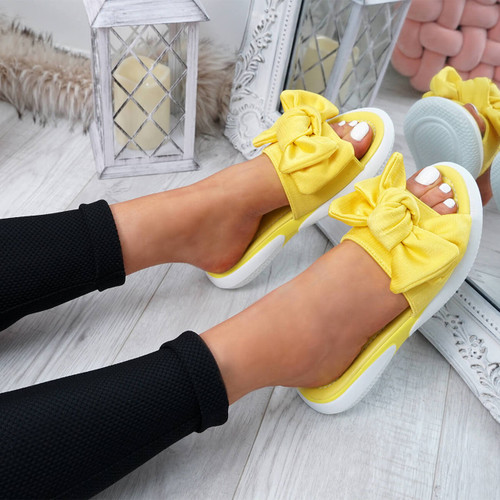 Lufa Yellow Bow Sliders Sandals