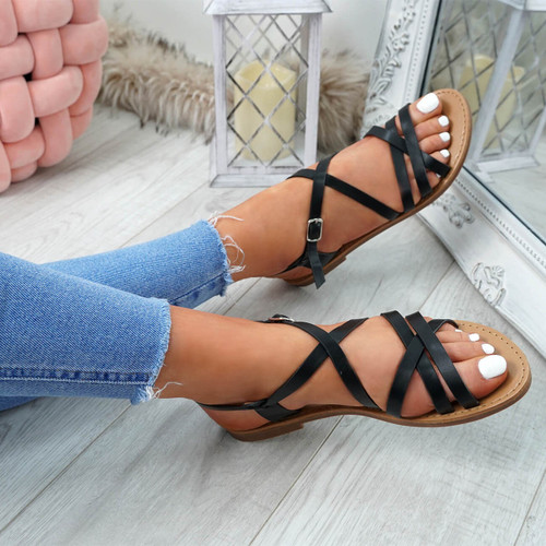 Alto Black Peep Toe Flat Sandals