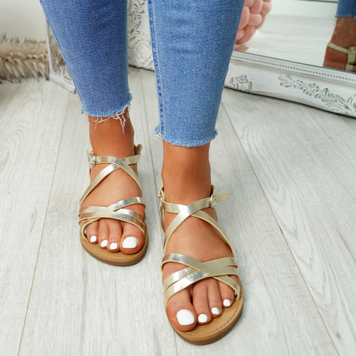Alto Gold Peep Toe Flat Sandals