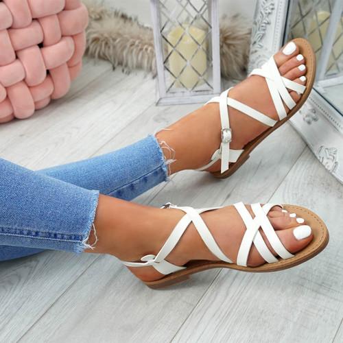 Alto White Peep Toe Flat Sandals