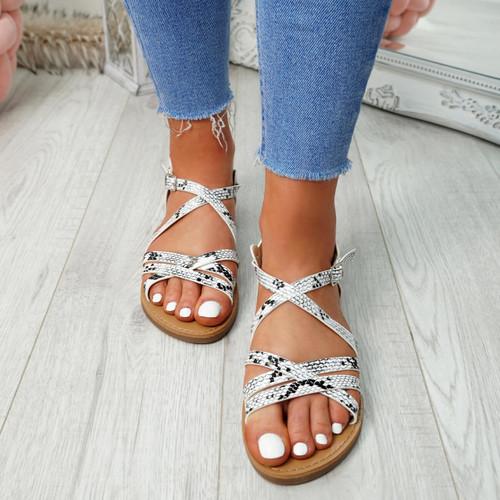 Alto Snake Peep Toe Flat Sandals
