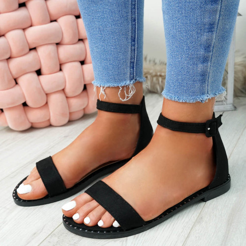 Kio Black Studded Flat Sandals