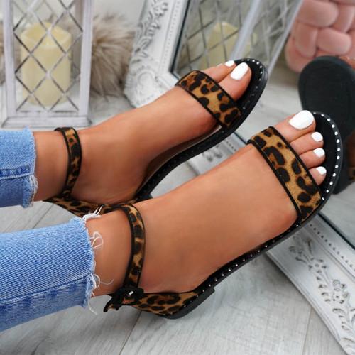 Kio Leopard Studded Flat Sandals