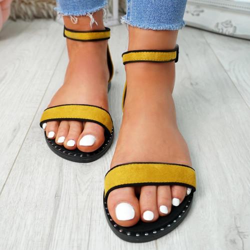 Kio Yellow Studded Flat Sandals