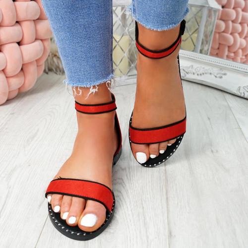 Kio Red Studded Flat Sandals