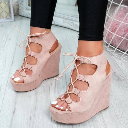 Hya Blush Pink Cross Lace Wedge Sandals