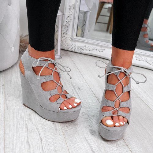 Hya Grey Cross Lace Wedge Sandals