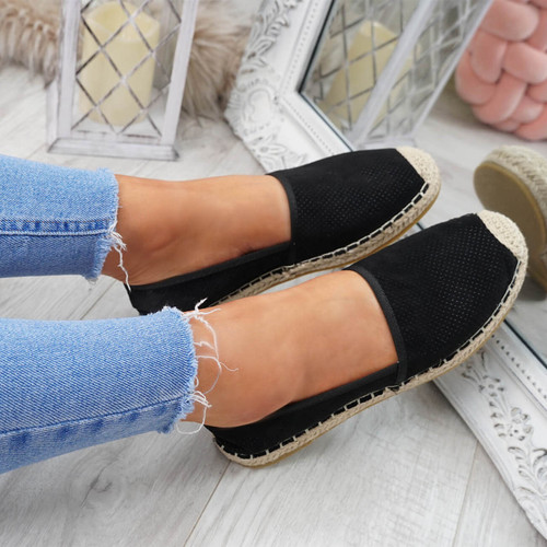 womens black color espadrille ballerinas size uk 3 4 5 6 7 8