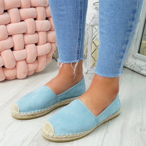womens blue espadrille ballerinas size uk 3 4 5 6 7 8