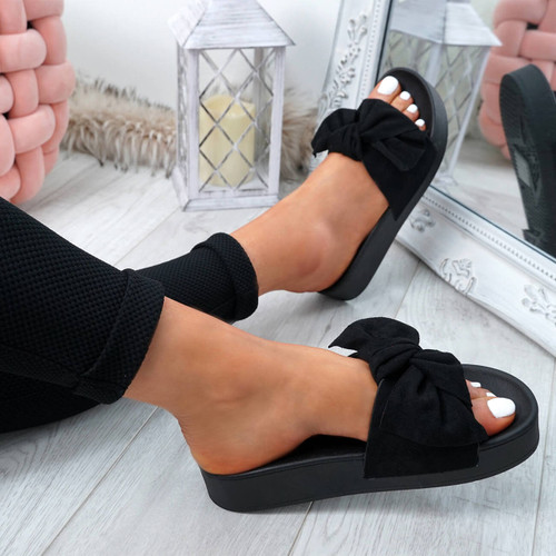 Gyo Black Bow Sliders