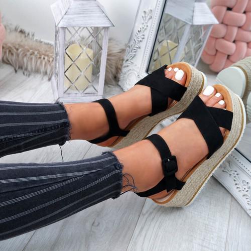 Amyt Black Espadrille Wedge Sandals