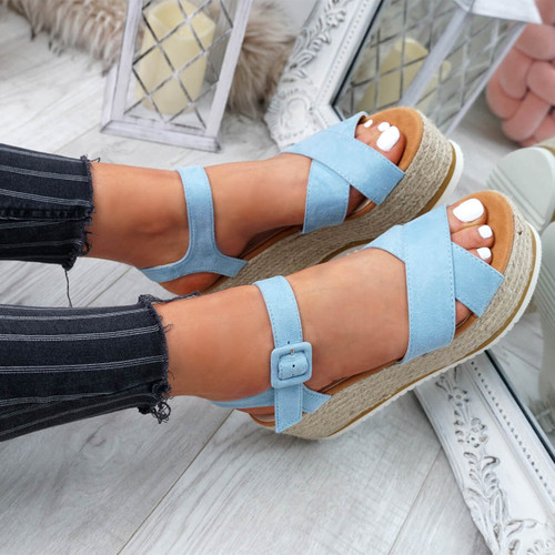 Amyt Blue Espadrille Wedge Sandals