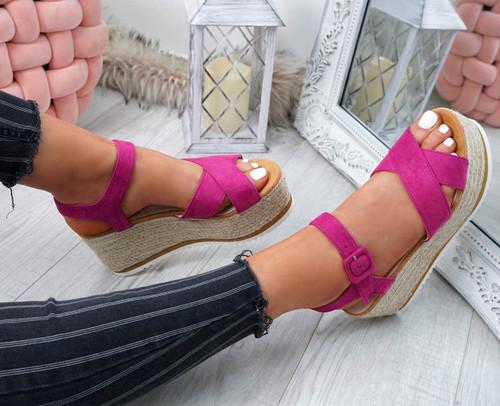 23f79e2fcbb Amyt Purple Espadrille Wedge Sandals