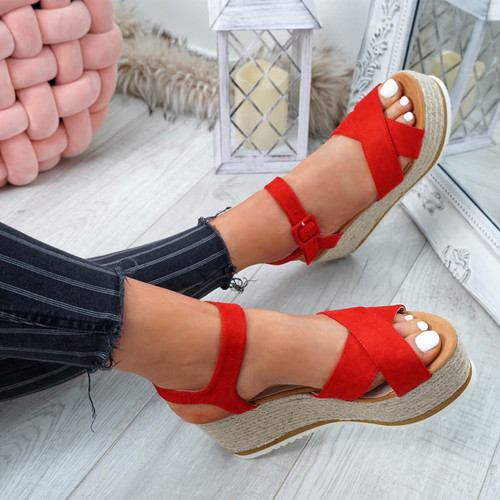 Amyt Red Espadrille Wedge Sandals