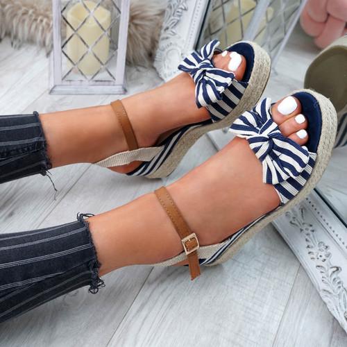 Kaza Blue Espadrille Platform Sandals