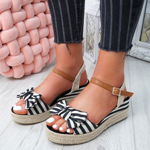 Kaza Black Espadrille Platform Sandals