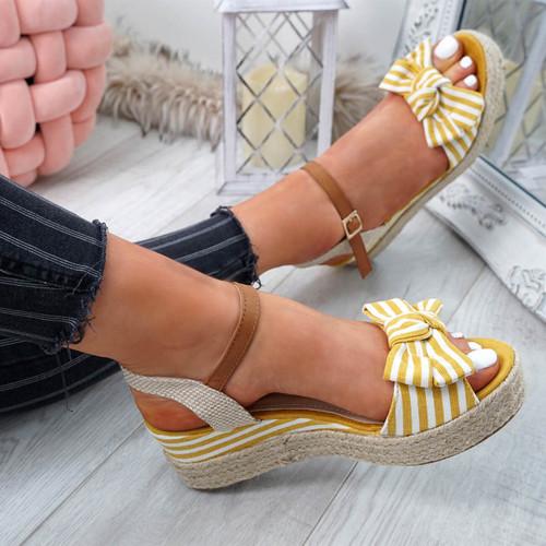 Kaza Yellow Espadrille Platform Sandals