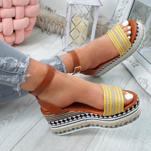 Gima Yellow Platform Sandals