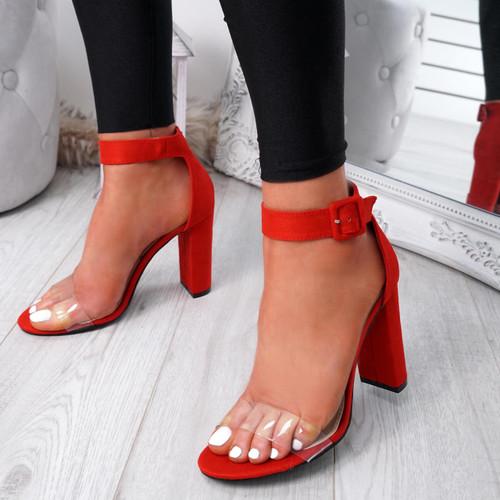 Loma Red Block Heel Sandals