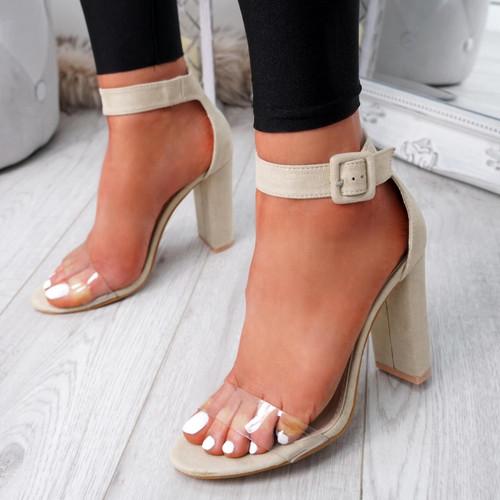 Loma Beige Block Heel Sandals