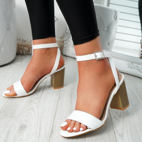 Tewa White Ankle Strap Sandals
