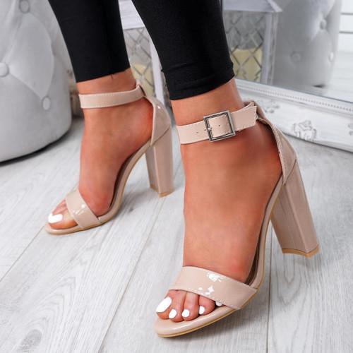 Facy Apricot Patent Ankle Strap Sandals