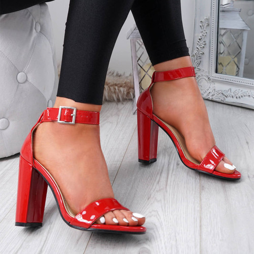 Facy Red Patent Ankle Strap Sandals