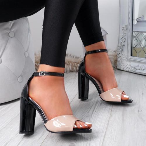 Lagry Apricot Patent Block Heel Sandals