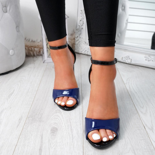 Lagry Blue Patent Block Heel Sandals