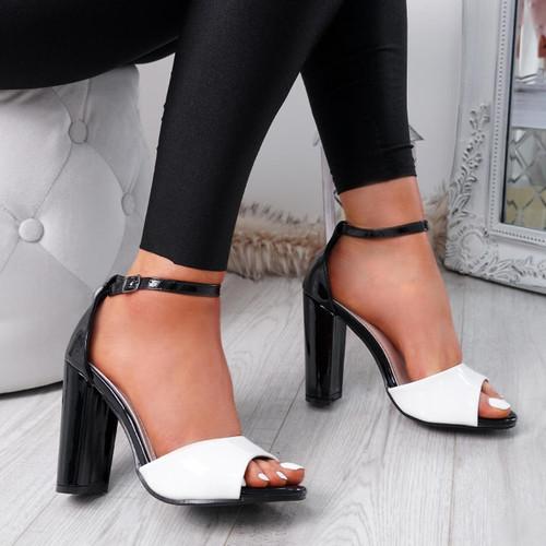 Lagry White Patent Block Heel Sandals