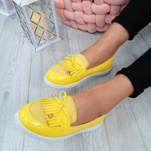 Dorra Yellow Fringe Ballerinas
