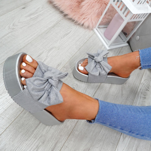 Nixy Grey Bow Slider Flatforms