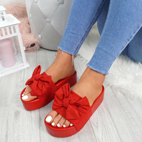 6219a02701d0 Womens Ladies High Heel Flatforms Sliders Bow Peep Toe Sandals ...