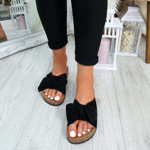 Pato Black Bow Sliders