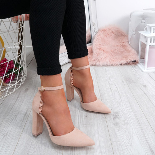 Ellio Beige Ruffle Pumps