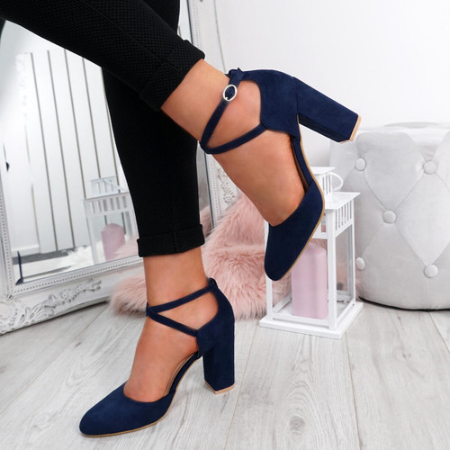 Lasa Blue Block Heel Pumps