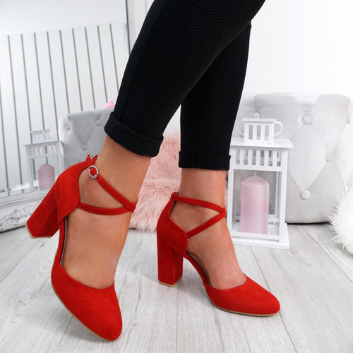 Lasa Red Block Heel Pumps