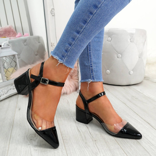 Yelly Black Clear Block Heel Pumps