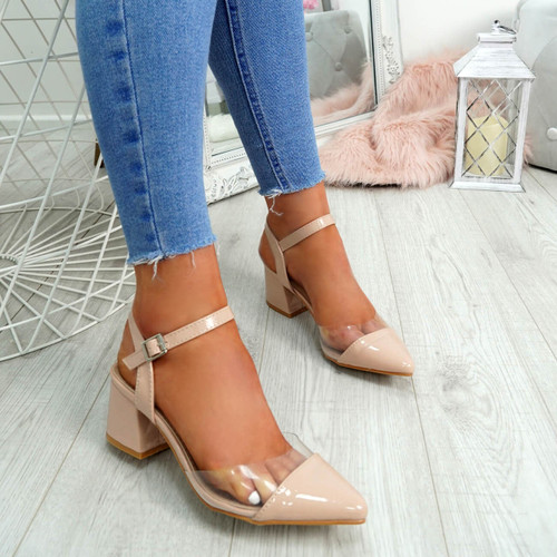 Yelly Nude Clear Block Heel Pumps