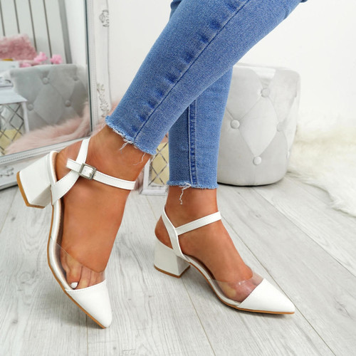 Yelly White Clear Block Heel Pumps
