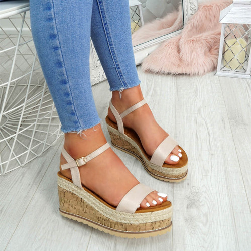 Risse Beige Platform Sandals