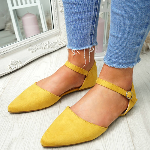 Yolla Yellow Pointed Ballerinas