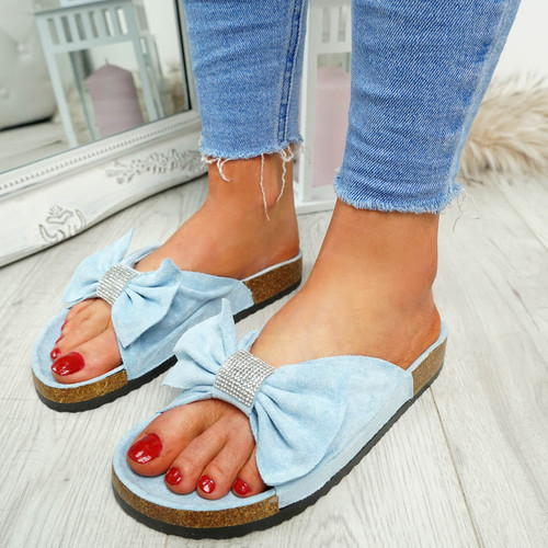 Renna Blue Bow Studded Sandals