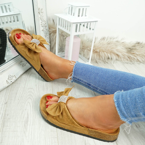 Renna Camel Bow Studded Sandals