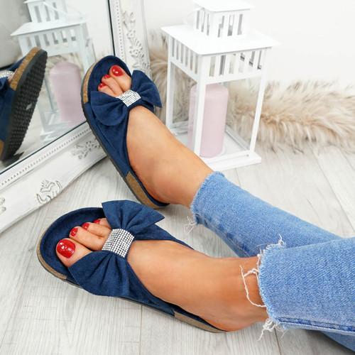 Renna Dark Blue Bow Studded Sandals