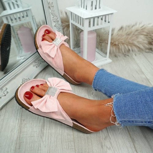 Renna Pink Bow Studded Sandals
