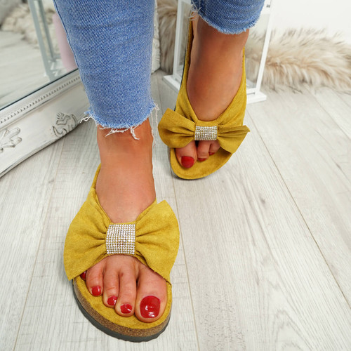 Renna Yellow Bow Studded Sandals