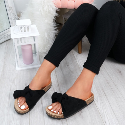 Issil Black Bow Flat Sandals