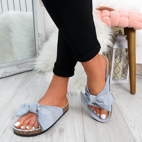 Issil Blue Bow Flat Sandals