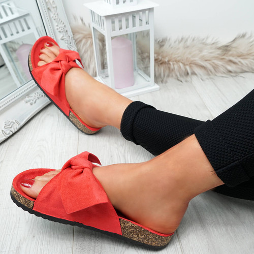 Issil Red Bow Flat Sandals